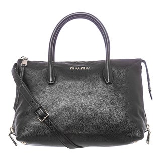Miu Miu 'Madras' Black Leather Side-zip Satchel