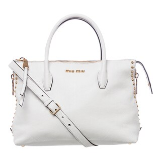 Miu Miu 'Madras' White Leather Studded Satchel