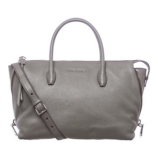 Miu Miu 'Madras' Grey Leather Side-zip Satchel