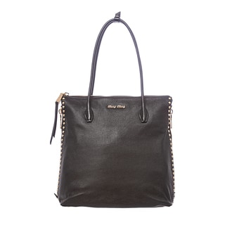 Miu Miu 'Madras' Tall Black Leather Studded Tote