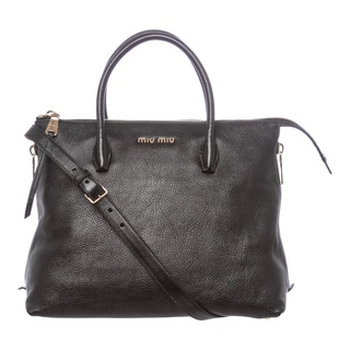 Miu Miu 'Madras' Large Black Leather Side-zip Satchel