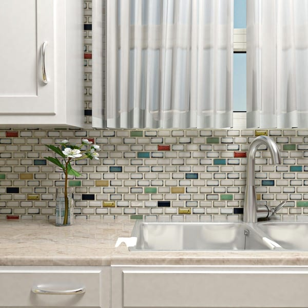 SomerTile 11.875 x 12-inch Tuscan Subway Cascade Porcelain Floor and Wall Tile (Pack of 10)