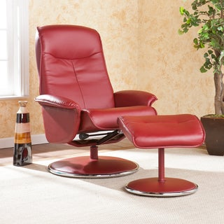 Upton Home Lyndon Red Bonded Leather Recliner and Ottoman