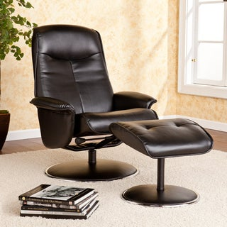 Upton Home Lyndon Onyx Bonded Leather Recliner and Ottoman