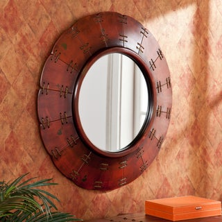 Upton Home Baltic Distressed Red Decorative Mirror