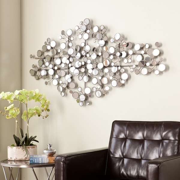 mirrored metal wall sculpture mirror mirrors living room round art