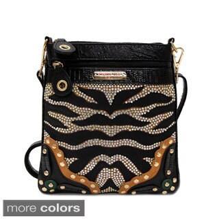 Nicole Lee 'Zuri' Rhinestone Zebra Print Crossbody Bag