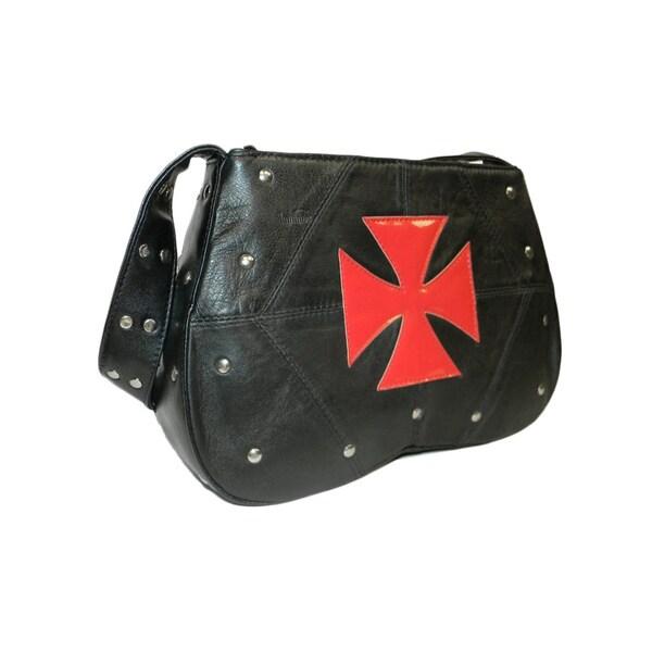 Hollywood Tag Gothic Cross Black Leather Handbag
