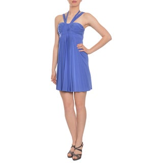 BCBG MAXAZRIA Women's Periwinkle Blue Pleated Halter Cocktail Dress