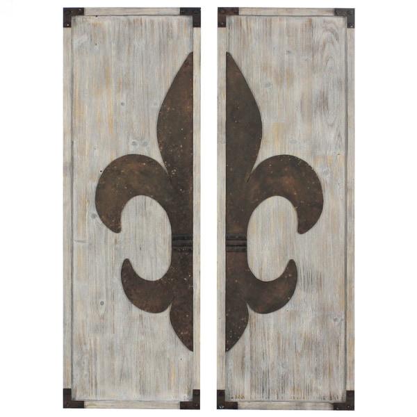 Set of 2 Fleur-de-lis Wooden Wall Plaques (China)