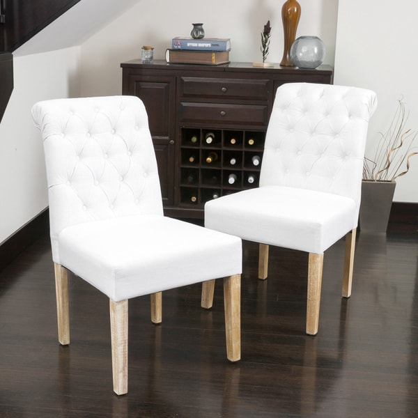 Christopher knight home dinah tufted white fabric dining for White fabric dining chairs