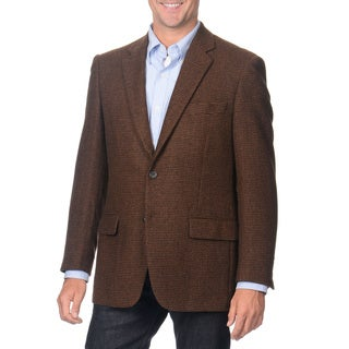 Henry Grethel Men's Brown Houndstooth Check Camel Hair Blazer