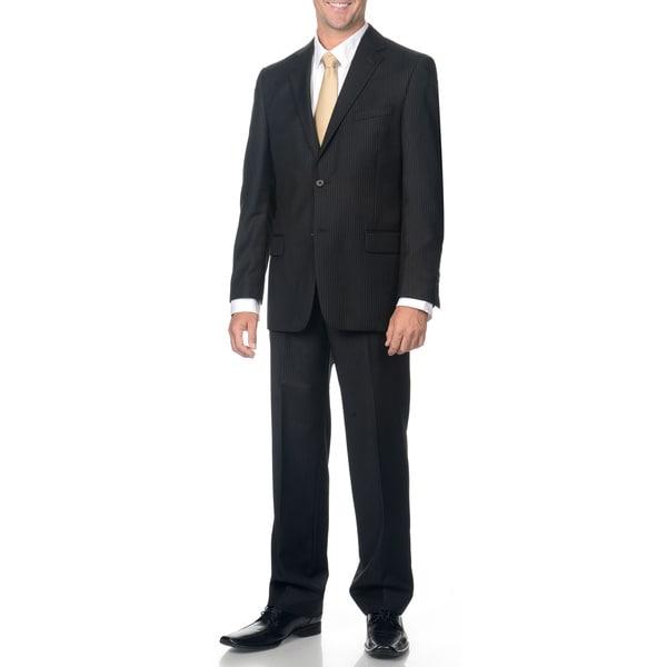 Henry Grethel Men's Black Pinstripe Wool Suit
