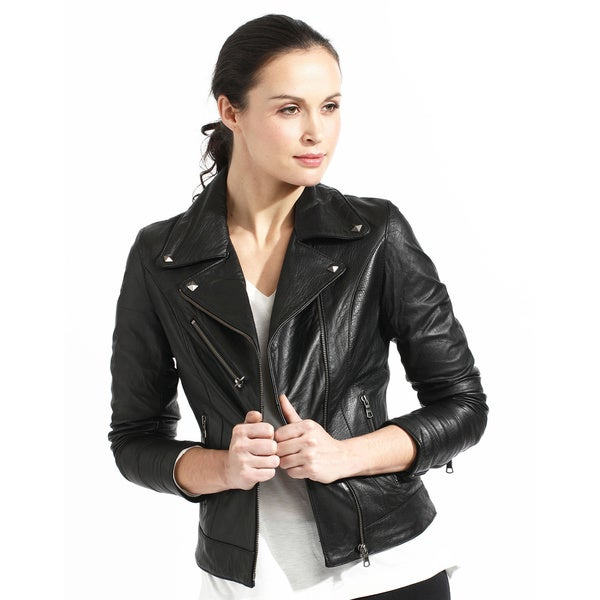 Women's Slim Fit Black Full-grain Leather Biker Jacket - Overstock
