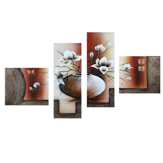 Abstract Flowers 4-piece Hand-painted Canvas
