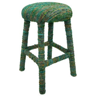 nuLOOM Handmade Bombay Green Sari Silk Bar Stool