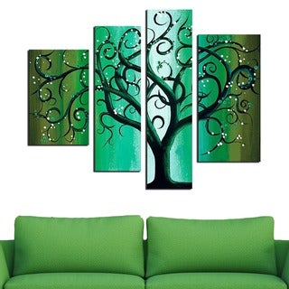 Green Abstract Tree 4-piece Hand-painted Canvas Art Set