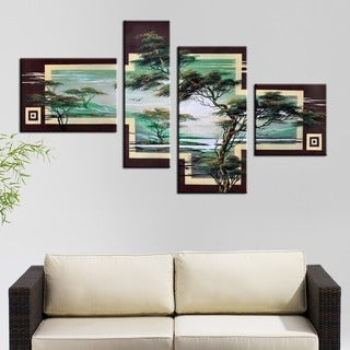 Hand-painted African Landscape Tree 4-piece Canvas Art Set