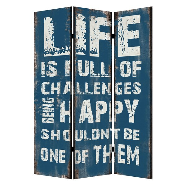 Blue/ Black 2-sided Inspirational 3-panel Screen (China)
