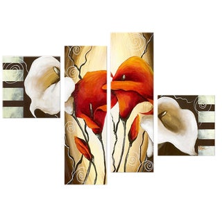 Hand-painted Abstract Lilies 4-piece Canvas Art Set