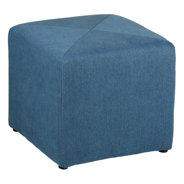 Cortesi Home Americana Denim Fabric Cube Ottoman
