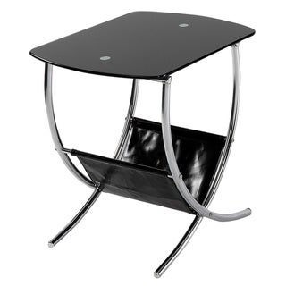 Chrome/ Black Glass End Table with Magazine Holder