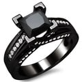 14k Black Gold 2ct TDW Certified Black Princess-cut Diamond Ring