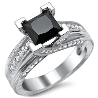 14k White Gold 2ct TDW Certified Black Princess Cut Diamond Engagement Ring
