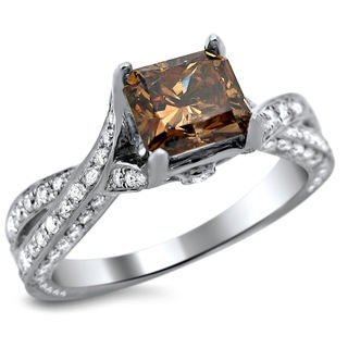 14k White Gold 2 1/8ct TDW Certified Brown Cushion Cut Diamond Ring (SI1-SI2)