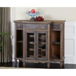 Suzette Smokey Grey Wash Wine Cabinet