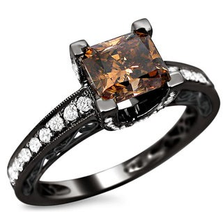 Noori 18k Black Gold 1 4/5ct TDW Certified Brown Cushion Cut Diamond Ring (E-F, VS1-VS2)