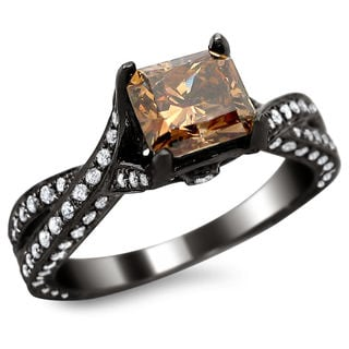 14k Black Gold 2 1/10ct TDW Certified Brown and White Cushion/ Round-cut Diamond Ring (G-H, SI1-SI2)
