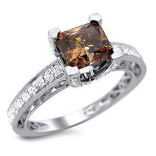 Noori 18k White Gold 1 7/8ct TDW Certified Brown and White Cushion Cut Diamond Ring (E-F, VS1-VS2)