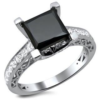 Noori 18k White Gold 2 3/4ct TDW Certified Black and White Princess-cut Diamond Ring