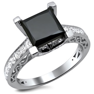 18k White Gold 2 7/8ct TDW Certified Black and White Princess Cut Diamond Ring (E-F, VS1-VS2)