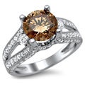 18k White Gold 2 2/5ct Certified Brown and White Round Diamond Ring (E-F, VS1-VS2)