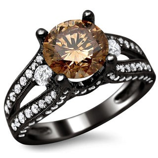 18k Black Gold 2 2/5ct Certified Brown and White Round-cut Diamond Split Shank Ring (E-F, VS1-VS2)