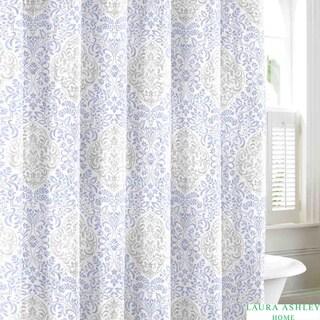 Laura Ashley Winchester Blue Cotton Shower Curtain