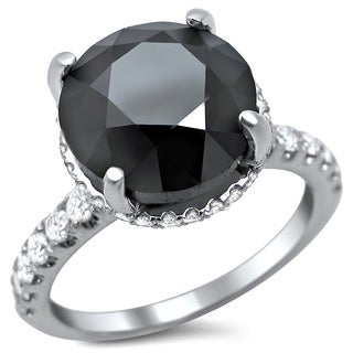 18k White Gold 5 1/4ct TDW Certified Black Round Diamond Solitaire Ring