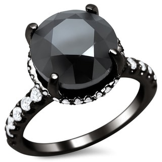 Noori 18k Black Gold 5 3/4ct TDW Certified Black Round Diamond Halo Ring