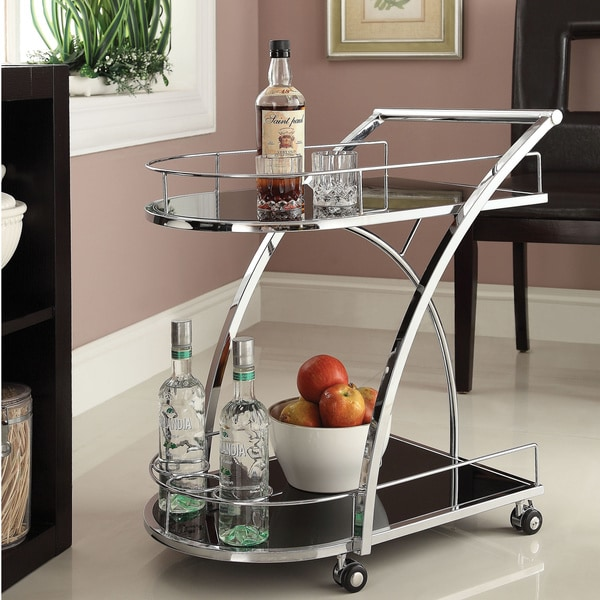 Chrome Metal With Black Tempered Glass Bar Wine Tea