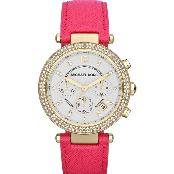 Michael Kors Women's MK2297 Pink Leather Strap Chronograph Watch