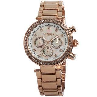 Akribos XXIV Women's Multifunction Crystal Mother of Pearl Dial Quartz Bracelet Watch