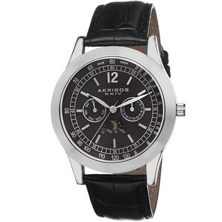 Akribos XXIV Men's Multifunction Quartz Genuine Leather Strap Watch