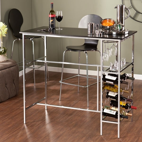 Harper Blvd Libertine Black Chrome Wine Storage Pub Table