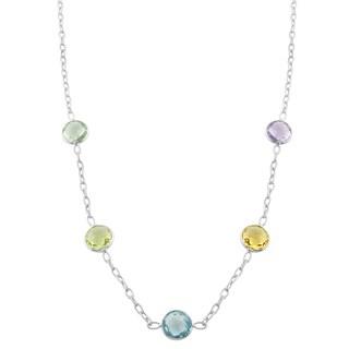 Fremada Sterling Silver Round Multiple Gemstones Station Necklace (18 inch)