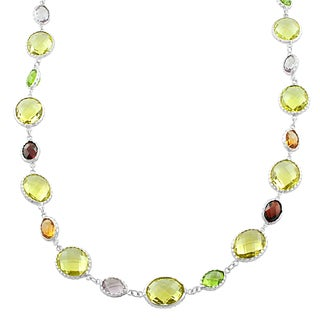 Fremada Sterling Silver Alternate Big Oval Lemon Quartz and Small Oval Gemstones Necklace (16 inch)