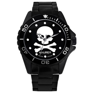 Haurex Italy Women's Ink Skull Black Aluminum Watch
