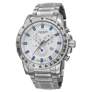 Akribos XXIV Men's Swiss Quartz Chronograph Tachymeter Stainless Steel Bracelet Watch