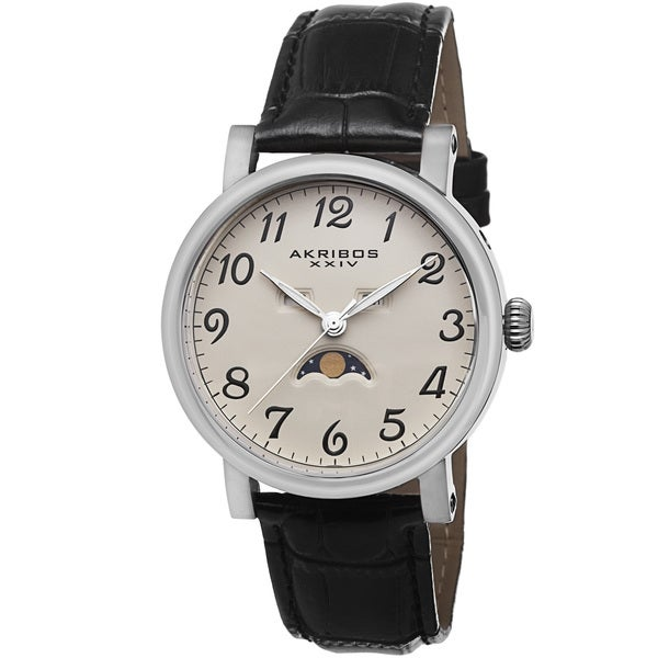 Akribos XXIV Men's Quartz AM/PM Indicator Genuine Leather Strap Watch
